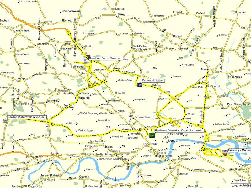 海外ツーリング イギリス ロンドン近郊 オードバイ博物館 イギリス空軍博物館 本日の行程(ロンドン近郊)