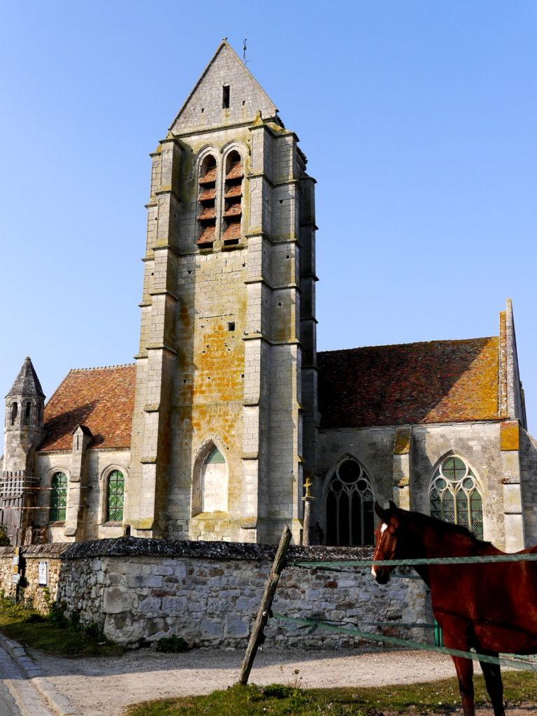 海外ツーリング フランス パリ オートバイレンタル ヴェクサン自然公園 グザングレ 農園 マスタード 田舎のパン屋  村の教会と馬@Église Notre-Dame-de-l'Assomption d'Haravilliers