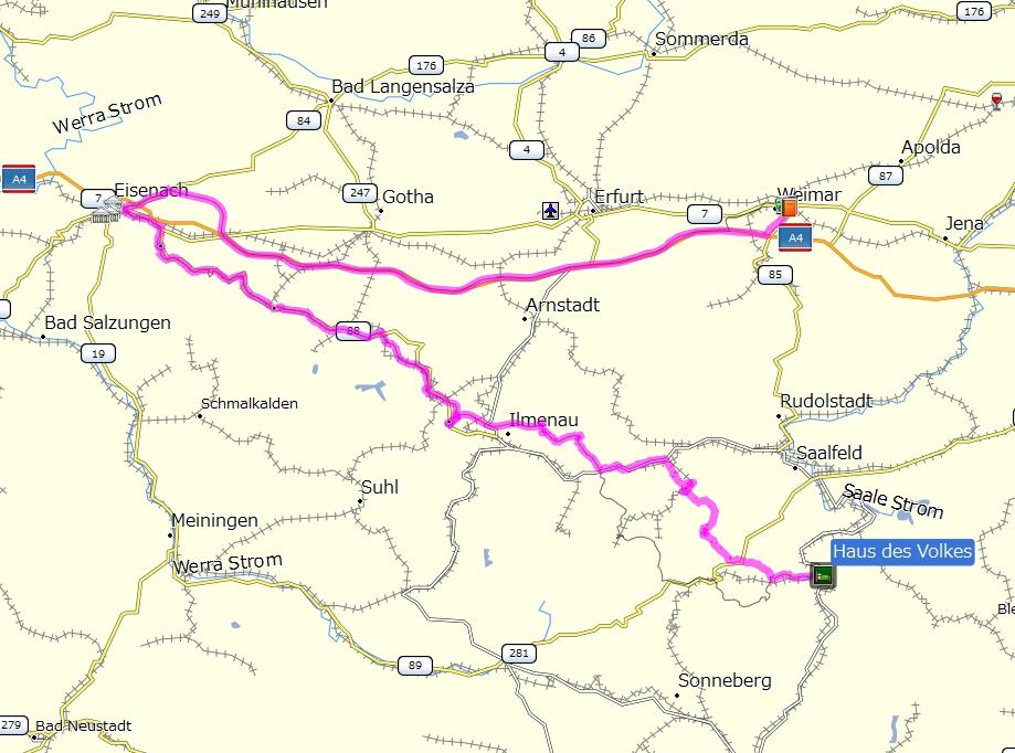 海外ツーリング ドイツ 旧東ドイツ オートバイレンタル テューリンゲンの森 アイゼナハ  本日の行程 (プロプストツェラからテューリンゲンの森を抜けアイゼナハ、ワイマールへ)