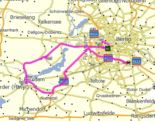 海外ツーリング ドイツ 旧東ドイツ オートバイレンタル  ベルリン ポツダム ドイツ空軍博物館 サンスーシ宮殿 カラヴァジョ ノイケルン トルコ人街 本日の行程(ベルリン近郊 ポツダムへ)