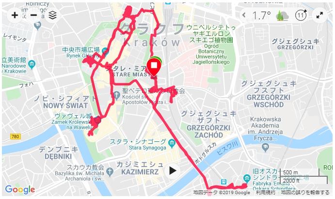 旅行で重宝するGSPランニングウォッチ ガーミン(GAMIN) ForeAthlete  クラクフを街歩き@ポーランド