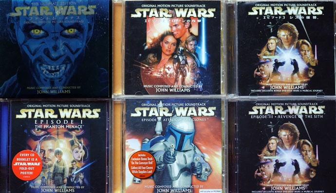 スターウォーズ ハリウッド ディスクレヴュー ジョン ウィリアムズ OST オリジナルサウンドトラック アンドレ プレヴィン 新三部作(エピソード1~3)のサウンドトラックCD、上段は日本盤、下段は海外盤