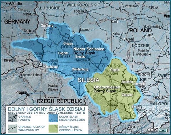 シロンスク シレジア 地方 ヴロツワフ ブロツワフ ブロツラフ ブレスラウ  シレジア地方地図 ポーランド語とドイツ語並記