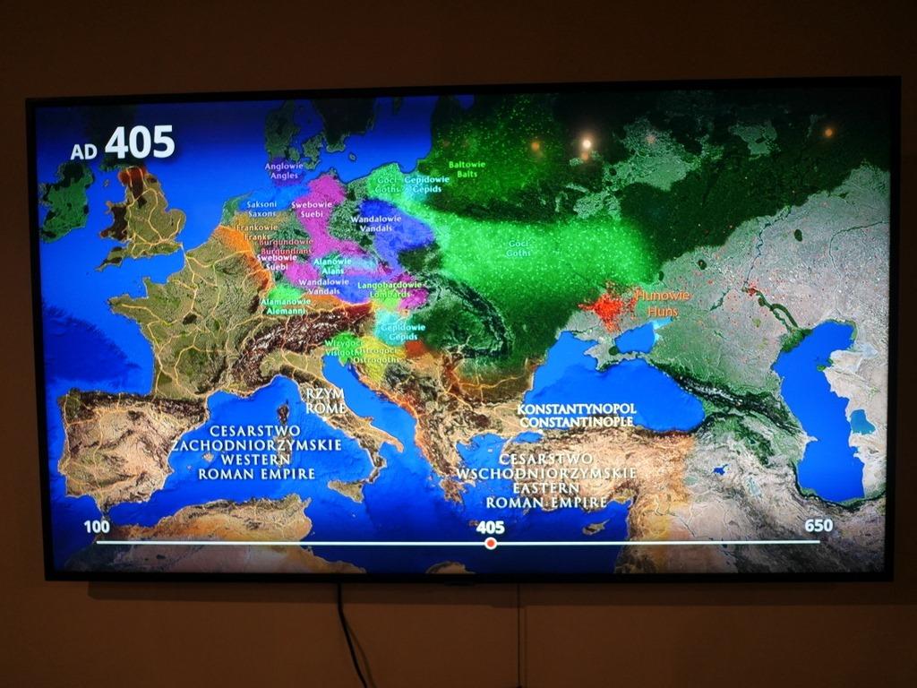 ヴロツワフ ブレスラウ 博物館 考古学博物館 フン族など民族の移動を動画で時系列に表示する動画 @Muzeum Archeologiczne Oddział