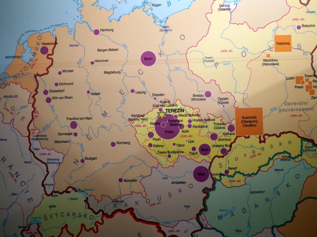 プラハ近郊 テレジーン テレジン テレージエンシュタット ゲットー博物館  テレジーンのユダヤ人の輸送(1941〜1945)