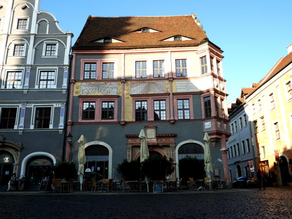 ゲルリッツ ドイツ ゲルリッツ駅 ザンクト ペテルス教会  薬局建物(The Old Council's Pharmacy / Alte Ratsapotheke) @Görlitz