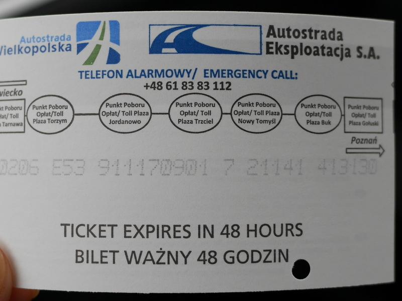 グダニスク グダンスク ダンツィヒ ポーランド ドライブ  高速道路の精算は発券チケットを料金所で渡す方式