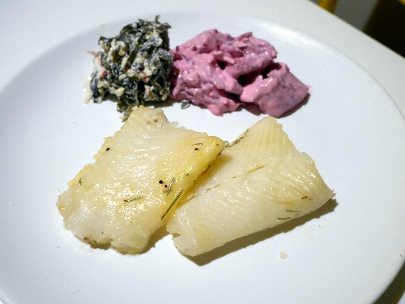 グダニスク グダンスク ダンツィヒ ポーランド グダニスク屋内市場 夕食はオヒョウの香草焼きとムニエルの2種