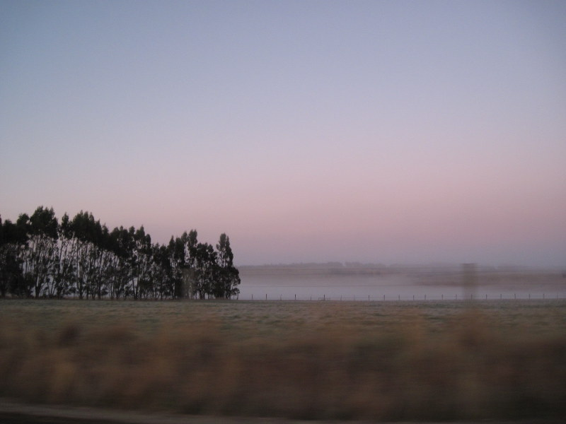 海外ツーリング ニュージーランド ロード オブ ザ リング オートバイレンタル テ アナウ クイーンズタウン 朝靄の平原 @The Key