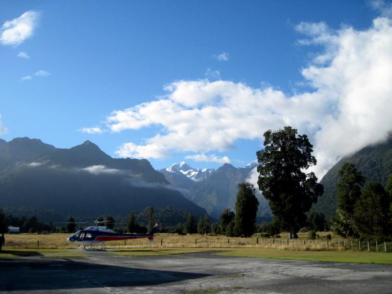 海外ツーリング ニュージーランド オートバイレンタル マウント クック 最高峰 アオラキ フォックス氷河 ヘリコプターツアー フォックス・グレイシャー ヘリポート @Fox Glacier
