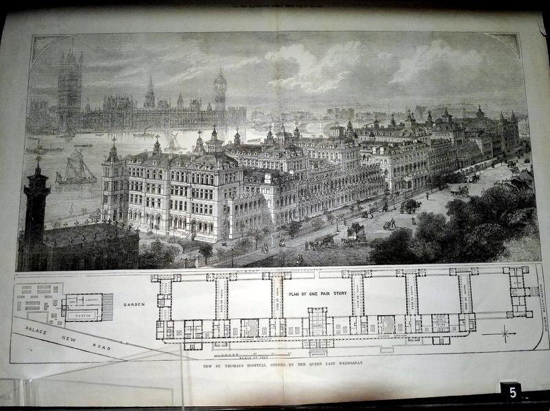 ロンドン 病院博物館  病院 フロイト博物館 聖トーマス病院  セント トーマス病院  1871年にヴィクトリア女王によって開院された当時のセント・トーマス病院、対岸にビッグ・ベンが描かれている @Florence Nightingale Museum