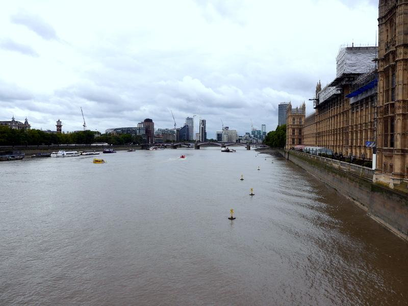 ロンドン 病院博物館  病院 フロイト博物館 聖トーマス病院  セント トーマス病院  右手がウェストミンスター宮殿、木々の向こう少し見えるのが旧館、テムズ川 ウェストミンスター橋から @Westminster Bridge