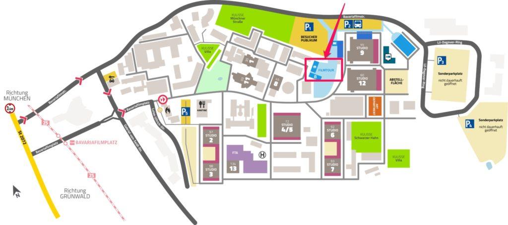 広いスタジオ内の地図、フィルムツアーとあるところが目的地 @Bavaria Filmstadt