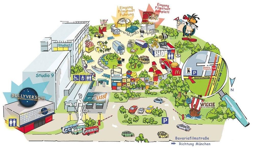 エントランス付近の地図 @Bavaria Filmstadt