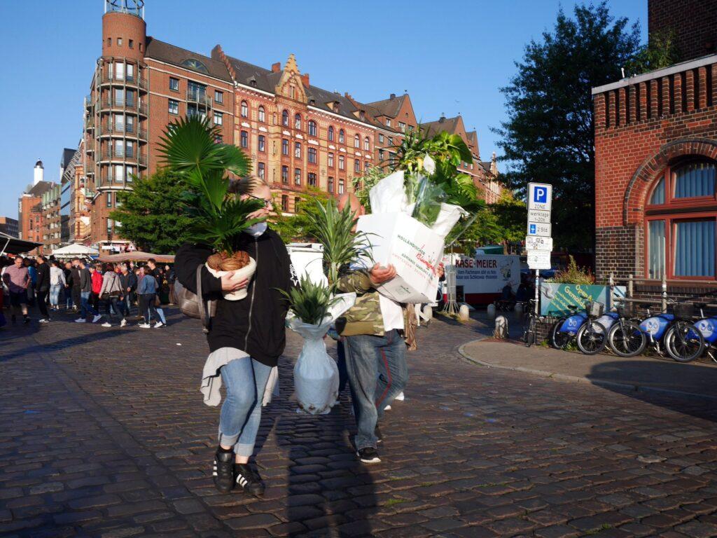 顔が見えぬほど大量の観葉植物を購入された方々 @Hamburg Fischmarkt