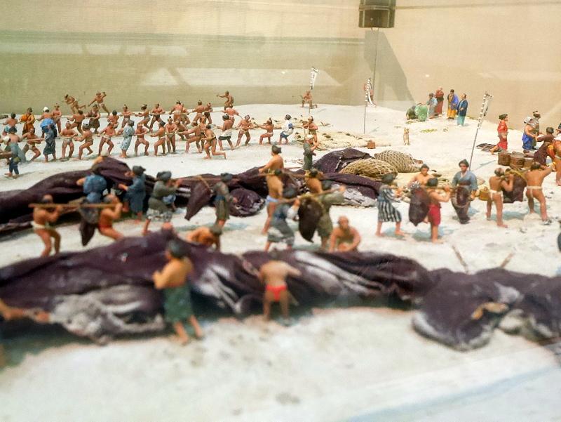地曳網のジオラマ 浜辺側 @渚の博物館