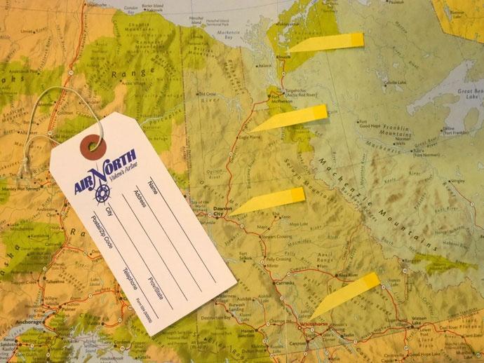イヌヴィックを目指すルート地図 @Klondike Hwy、Dempster Hwy